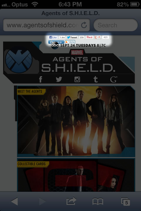 Cluttered social media links (GetGlue)