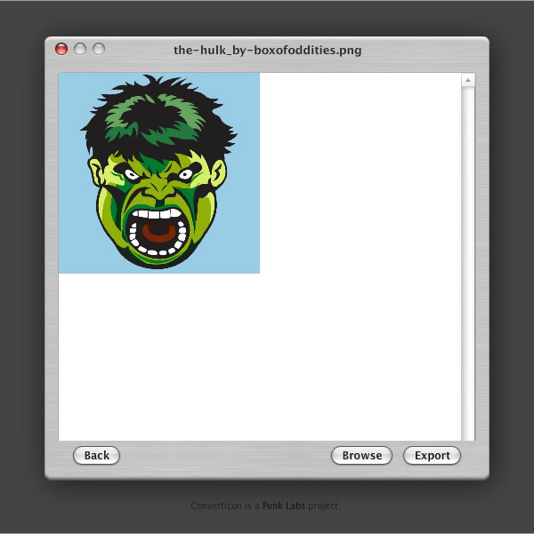 Create a favicon - ConvertIcon! - Step 5 - App with PNG image ready to Export