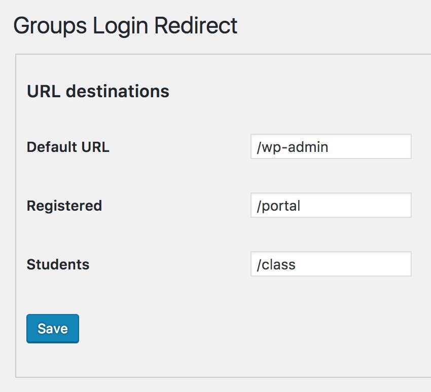 Groups Login Redirect - custom redirect after login to URL destinations