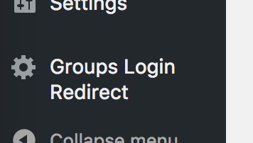 Groups Login Redirect plugin menu item in sidebar
