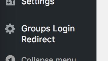 Groups Login Redirect plugin menu item in sidebar