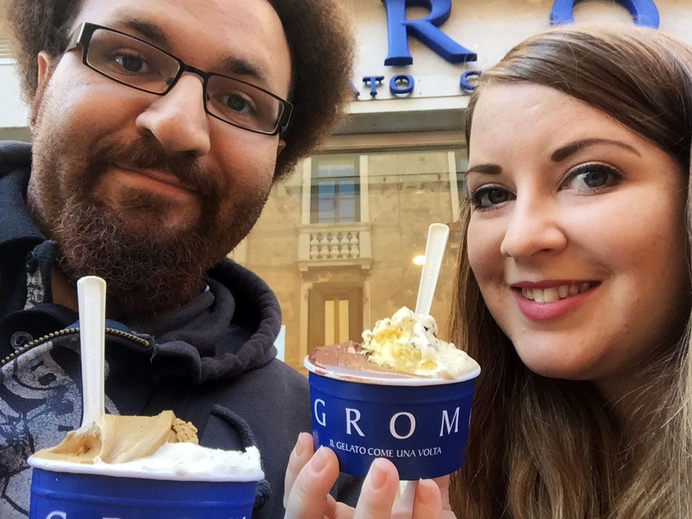 Laura & Geoff Franklin at Grom - il gelato come un volta, Venice, Italy