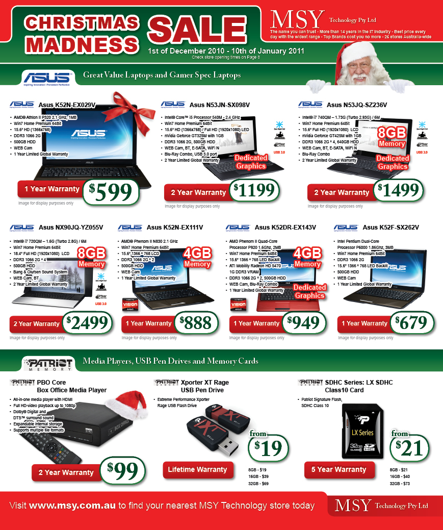 Print Design - Front Page of MSY Technology Christmas Madness Sale Catalog 2010