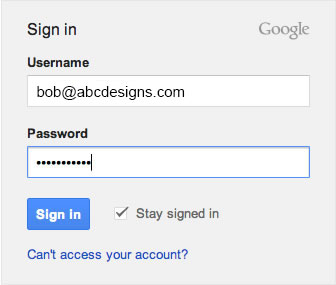 Email Signature in Gmail - Step 1 - Gmail login box with credentials filled in