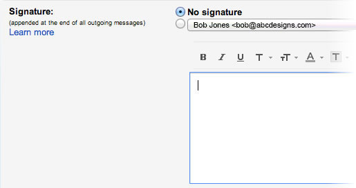Email Signature in Gmail - Step 3b - Signature section with nothing
