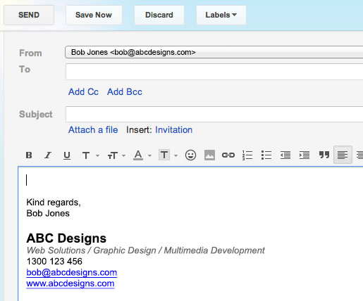 Email Signature in Gmail - Step 9 - Compose new Gmail email with new signature