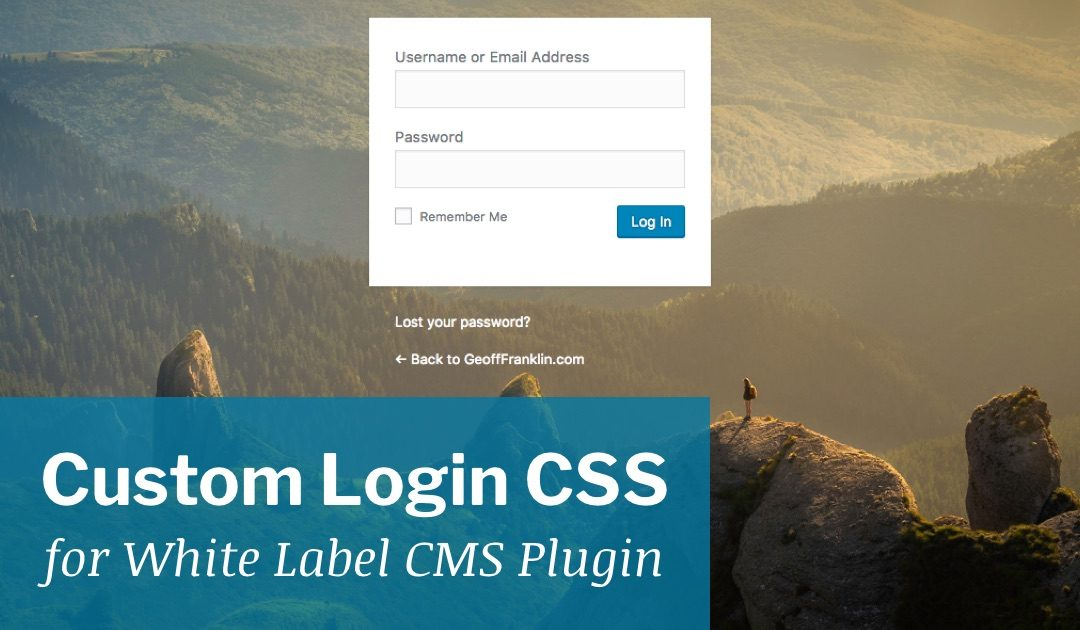 Custom Login CSS for White Label CMS Plugin