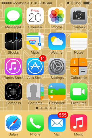 iPhone 4 Home Screen running iOS 7