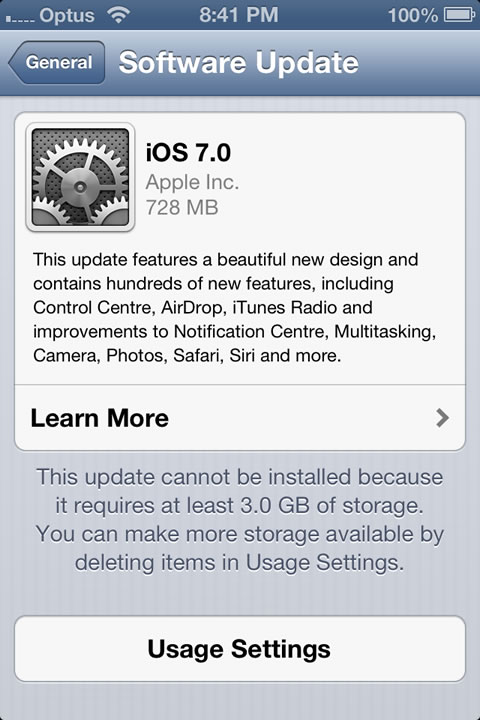 iPhone 4S Software Update to iOS 7